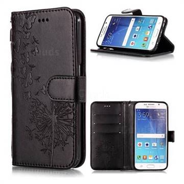 Intricate Embossing Dandelion Butterfly Leather Wallet Case for Samsung Galaxy S6 Edge G925 - Black