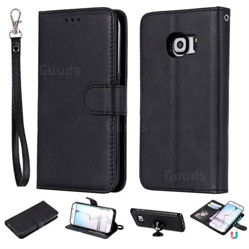 Retro Greek Detachable Magnetic PU Leather Wallet Phone Case for Samsung Galaxy S6 Edge G925 - Black