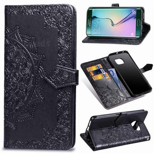 Embossing Imprint Mandala Flower Leather Wallet Case for Samsung Galaxy S6 Edge G925 - Black