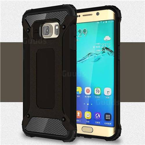 King Kong Armor Premium Shockproof Dual Layer Rugged Hard Cover for Samsung Galaxy S6 Edge Plus Edge+ G928 - Black Gold