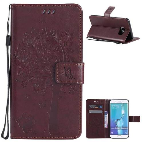 info for 0890d 744c6 Embossing Butterfly Tree Leather Wallet Case for Samsung Galaxy S6 Edge  Plus - Coffee