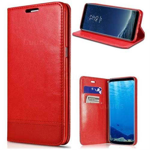 Magnetic Suck Stitching Slim Leather Wallet Case for Samsung Galaxy S6 Edge Plus Edge+ G928 - Red