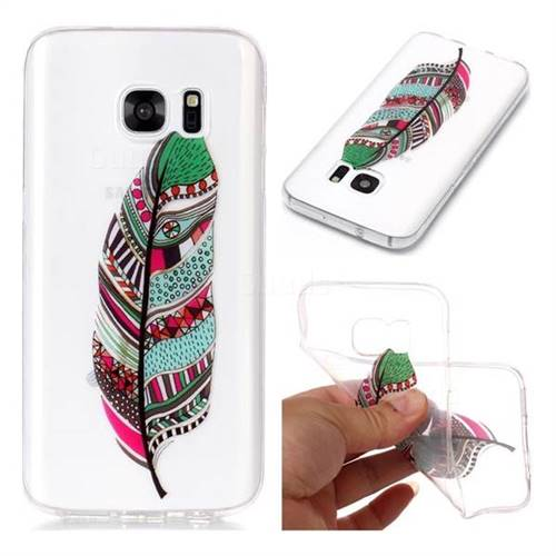 Green Feathers Super Clear Soft TPU Back Cover for Samsung Galaxy S7 G930