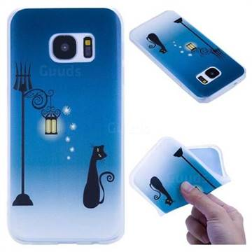 Street Light Cat 3D Relief Matte Soft TPU Back Cover for Samsung Galaxy S7 G930