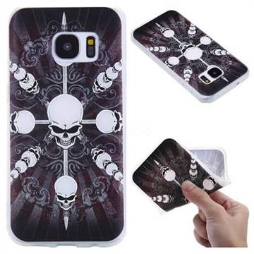 Compass Skulls 3D Relief Matte Soft TPU Back Cover for Samsung Galaxy S7 G930