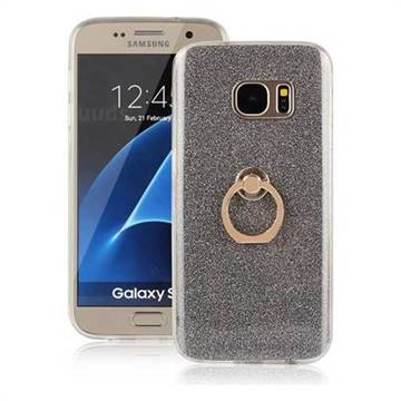 Luxury Soft TPU Glitter Back Ring Cover with 360 Rotate Finger Holder Buckle for Samsung Galaxy S7 G930 - Black