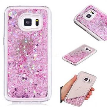 Glitter Sand Mirror Quicksand Dynamic Liquid Star TPU Case for Samsung Galaxy S7 G930 - Cherry Pink