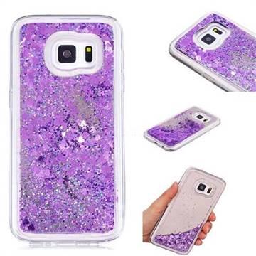 Glitter Sand Mirror Quicksand Dynamic Liquid Star TPU Case for Samsung Galaxy S7 G930 - Purple