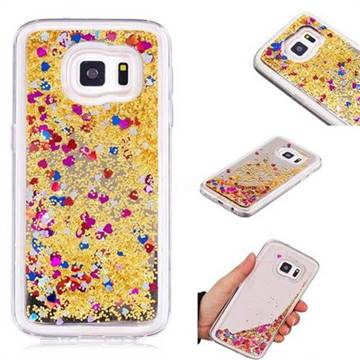 Glitter Sand Mirror Quicksand Dynamic Liquid Star TPU Case for Samsung Galaxy S7 G930 - Yellow