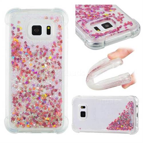Dynamic Liquid Glitter Sand Quicksand TPU Case for Samsung Galaxy S7 G930 - Rose Gold Love Heart