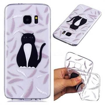 Feather Black Cat Super Clear Soft TPU Back Cover for Samsung Galaxy S7 G930