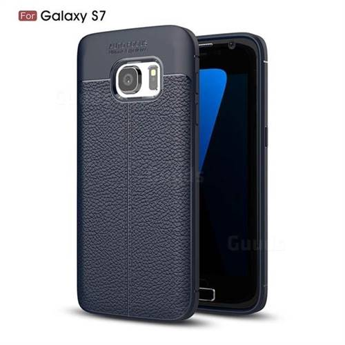 Luxury Auto Focus Litchi Texture Silicone TPU Back Cover for Samsung Galaxy S7 G930 - Dark Blue
