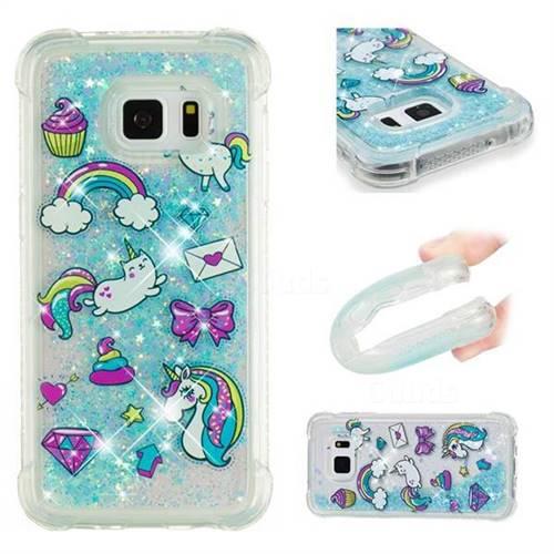 Fashion Unicorn Dynamic Liquid Glitter Sand Quicksand Star TPU Case for Samsung Galaxy S7 G930
