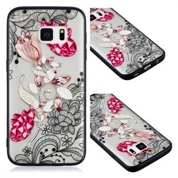 Tulip Lace Diamond Flower Soft TPU Back Cover for Samsung Galaxy S7 G930