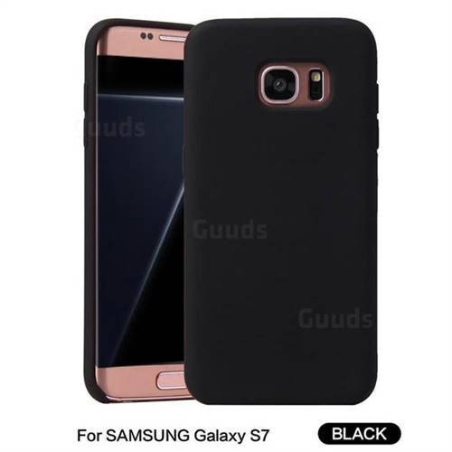 Howmak Slim Liquid Silicone Rubber Shockproof Phone Case Cover for Samsung Galaxy S7 G930 - Black