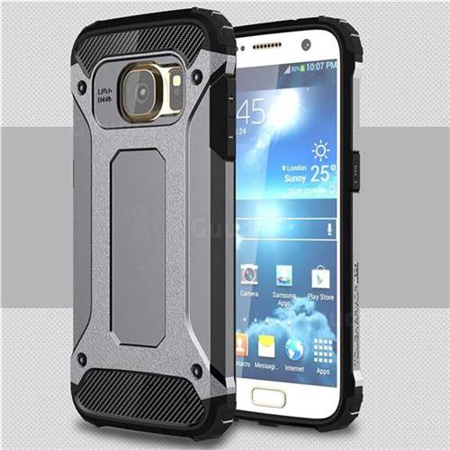 King Kong Armor Premium Shockproof Dual Layer Rugged Hard Cover for Samsung Galaxy S7 G930 - Silver Grey