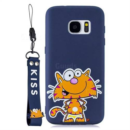 Blue Cute Cat Soft Kiss Candy Hand Strap Silicone Case for Samsung Galaxy S7 G930