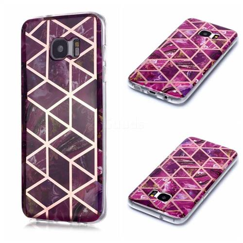 Purple Rhombus Galvanized Rose Gold Marble Phone Back Cover for Samsung Galaxy S7 G930