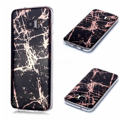 Black Galvanized Rose Gold Marble Phone Back Cover for Samsung Galaxy S7 G930