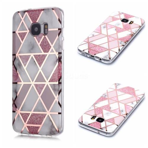 Pink Rhombus Galvanized Rose Gold Marble Phone Back Cover for Samsung Galaxy S7 G930