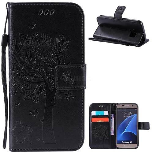 Embossing Butterfly Tree Leather Wallet Case for Samsung Galaxy S7 - Black