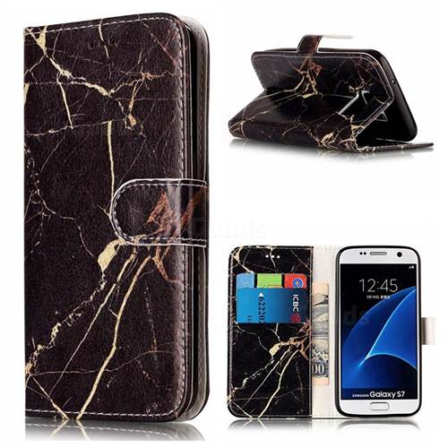 Black Gold Marble PU Leather Wallet Case for Samsung Galaxy S7 G930