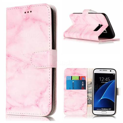 Pink Marble PU Leather Wallet Case for Samsung Galaxy S7 G930