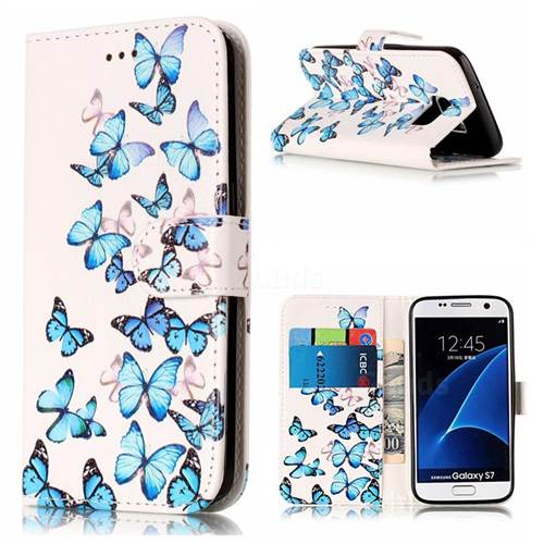 Blue Vivid Butterflies PU Leather Wallet Case for Samsung Galaxy S7 G930