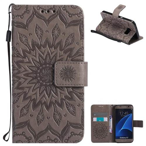 Embossing Sunflower Leather Wallet Case for Samsung Galaxy S7 G930 - Gray