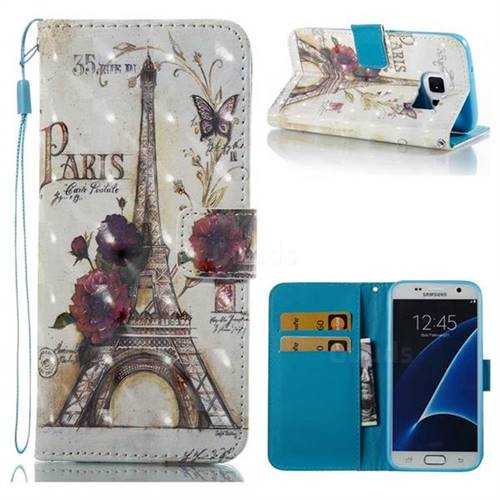 Flower Eiffel Tower 3D Painted Leather Wallet Case for Samsung Galaxy S7 G930