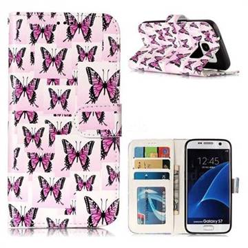 Butterflies Stickers 3D Relief Oil PU Leather Wallet Case for Samsung Galaxy S7 G930