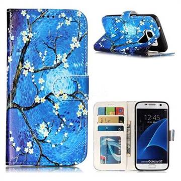 Plum Blossom 3D Relief Oil PU Leather Wallet Case for Samsung Galaxy S7 G930