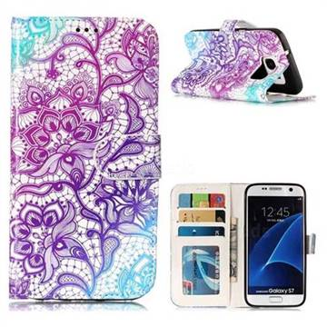 Purple Lotus 3D Relief Oil PU Leather Wallet Case for Samsung Galaxy S7 G930