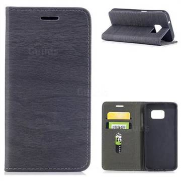 Tree Bark Pattern Automatic suction Leather Wallet Case for Samsung Galaxy S7 G930 - Gray