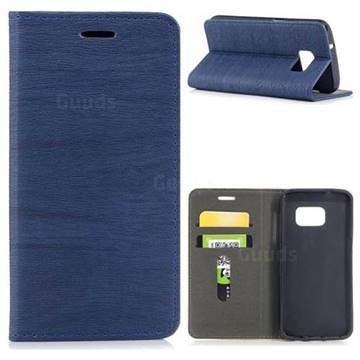 Tree Bark Pattern Automatic suction Leather Wallet Case for Samsung Galaxy S7 G930 - Blue