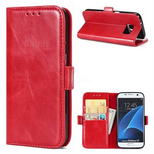 Luxury Crazy Horse PU Leather Wallet Case for Samsung Galaxy S7 G930 - Red