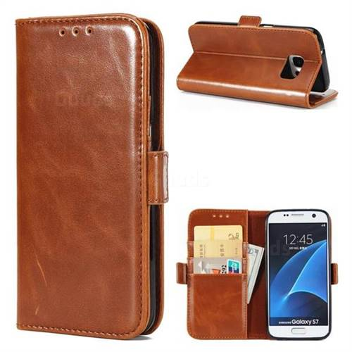 Luxury Crazy Horse PU Leather Wallet Case for Samsung Galaxy S7 G930 - Brown