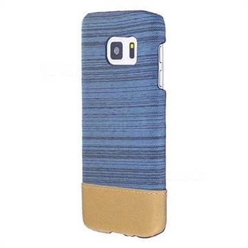 Canvas Cloth Coated Plastic Back Cover for Samsung Galaxy S7 G930 - Light Blue