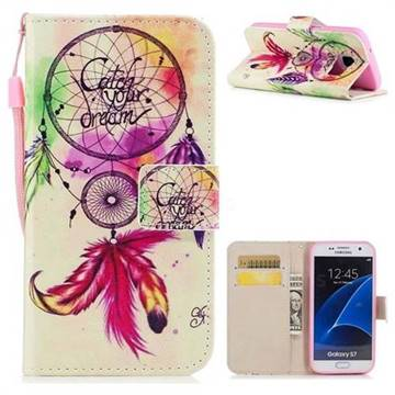 Feather Wind Chimes PU Leather Wallet Case for Samsung Galaxy S7 G930