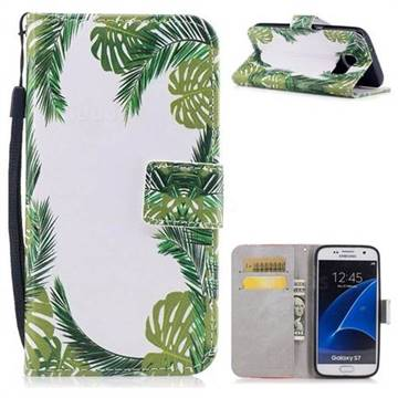 Green Leaves PU Leather Wallet Case for Samsung Galaxy S7 G930