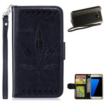 Intricate Embossing Maple Leather Wallet Case for Samsung Galaxy S7 G930 - Black