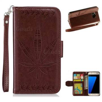 Intricate Embossing Maple Leather Wallet Case for Samsung Galaxy S7 G930 - Brown