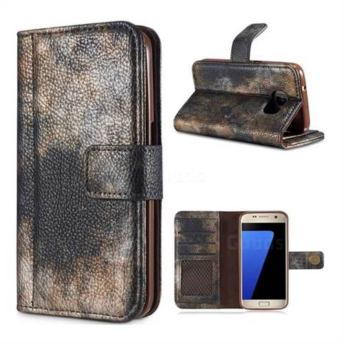 Luxury Retro Forest Series Leather Wallet Case for Samsung Galaxy S7 G930 - Grey