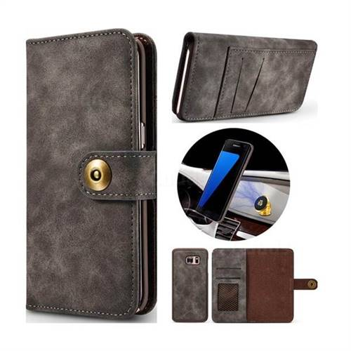 Luxury Vintage Split Separated Leather Wallet Case for Samsung Galaxy S7 G930 - Black