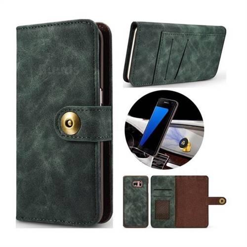Luxury Vintage Split Separated Leather Wallet Case for Samsung Galaxy S7 G930 - Dark Green