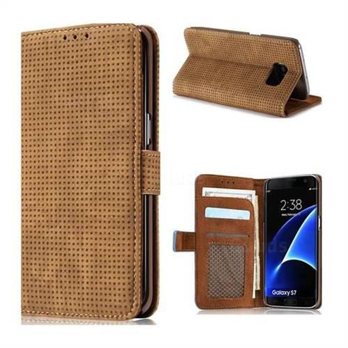 Luxury Vintage Mesh Monternet Leather Wallet Case for Samsung Galaxy S7 G930 - Brown