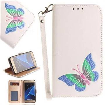 Imprint Embossing Butterfly Leather Wallet Case for Samsung Galaxy S7 G930 - White