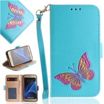 Imprint Embossing Butterfly Leather Wallet Case for Samsung Galaxy S7 G930 - Sky Blue