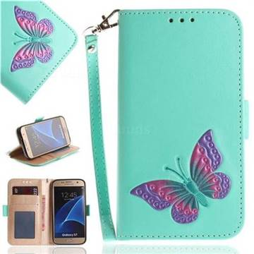 Imprint Embossing Butterfly Leather Wallet Case for Samsung Galaxy S7 G930 - Mint Green