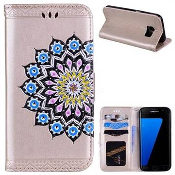 Datura Flowers Flash Powder Leather Wallet Holster Case for Samsung Galaxy S7 G930 - Golden
